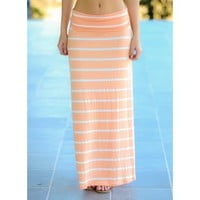 Friday On My Mind Maxi Skirt-Apricot
