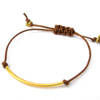 Simple Gold Band Friendship Macrame Stackable Bracelet Coachella Arm Candy Hipster Bracelet Brown Hemp Festival Accessory Teen Small Gift