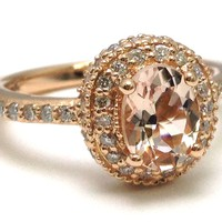 European Engagement Ring - Oval Morganite Ring Double Diamond Halo in Rose Gold - ERES321MGRG