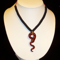 Unique Glass Snake and Beaded Necklace Enchanting by LotusJewels
