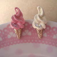 IceCream Earring Studs Pink and White by Bitsofbling on Etsy