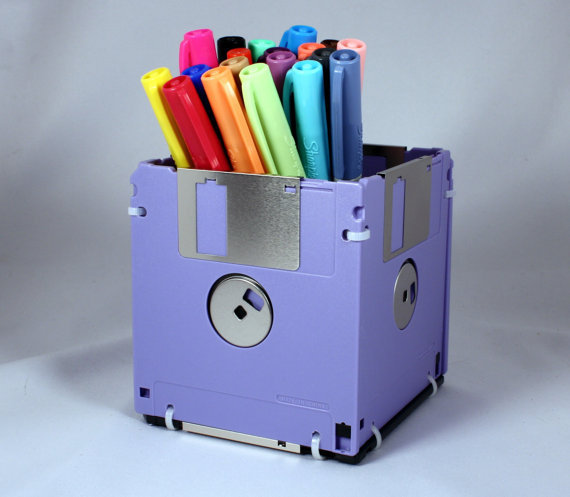 Floppy Disk Pen and Pencil Holder LAVENDER by GeekGear on Etsy