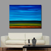 Large Canvas Abstract Landscape Blue Art Green Brown Painting Sky Artwork - 36x48 - Day Break - Earth Tone Landscape Art
