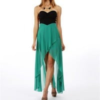 Green Strapless Hi-Lo Dresses :: www.windsorstore.com