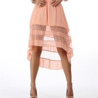 Peach Hi Low Skirt :: www.windsorstore.com