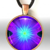 Purple Necklace Chakra Jewelry Reiki Pendant Energy Necklace Third Eye Balance | primalpainter - Jewelry on ArtFire