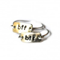 BFF Rectangular Ring Set