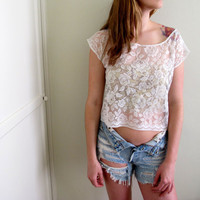 White Lace See Through Crop Top Floral Print by inzoopsia on Etsy