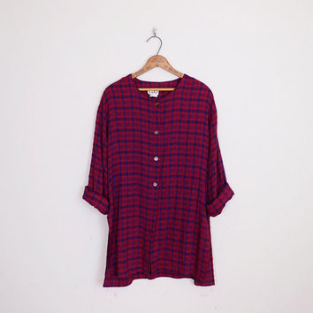 Burgundy Plaid Tunic Shirt Check Plaid Shirt 90s Plaid Top Plaid Blouse Oversize Shirt 90s Shirt 90s Grunge Shirt M Medium L XL Extra Large