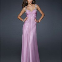 Empire Sweetheart Pleated Beaded on Straps Chiffon Prom Dress PD1799