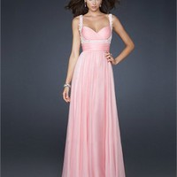Empire Chiffon Pleated Beaded With Straps and Waistband Prom Dress PD1802