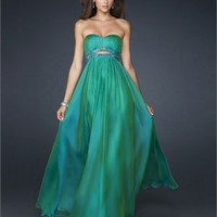 Column Strapless With Cut out beaded Waistband Pleated Chiffon Prom Dress PD1804