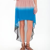 Women's High Low Hem Skirtin Blue/Black/Pink by Daytrip.