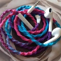 "Tangle Free, Hand Wrapped Earbuds w/mic ""-FADING- Purple, Turquoise and Pink"" Made for Apple iPhone 5, 5c, 5s, iPad, iPod, EarPods, Headphones"