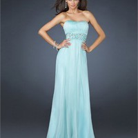 Elegant Strapless Pleated Embellished Waistband Full Length Chiffon Prom Dress PD1808