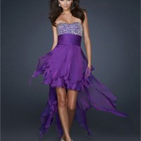 High-Low Beaded Sweetheart Neckline Gathered Wasitband Chiffon Prom Dress PD1813