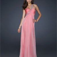 One Shoulder Gathered Beaded Open Back Chiffon Prom Dress PD1819