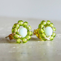 Beadwork Gold Stud Earrings  Wire Wrapped Light by contempojewels