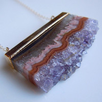 Amethyst Slice Druzy Necklace February Birthstone by 443Jewelry