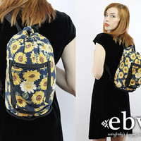 Vintage 90s Grunge Sunflowers Backpack Festival Backpack Festival Bag Hippie Bag Hippie Backpack Floral Backpack Boho Backpack