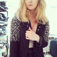 Black Blazer Balmain Inspired style safety pin jacket