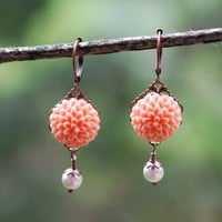 Peach and Pearl Mum Cabochon Earrings by RusticGem on Etsy