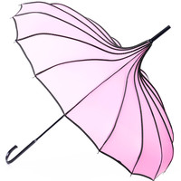 Pink & Polka Dot Trim Pagoda Umbrella