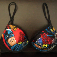 DARK KNIGHT Black Bra with Batman Gotham by meganelizabeth31