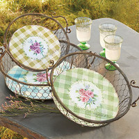 Gingham Floral Plates and Baskets