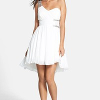 Way-In Embellished One-Shoulder Fit & Flare Dress (Juniors) | Nordstrom