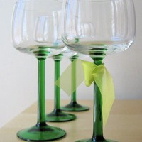 absinthe vintage french stemmed wine goblets set of by ionesAttic