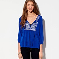 's Embroidered Peasant Top