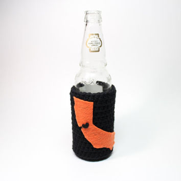 California Beer Bottle Koozie, State Accessories, Crochet Black & Orange Can Cozy, Bay Area Coffee Cozy, SF Giants Inspired
