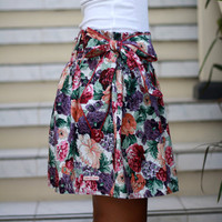 ON SALE Floral Skirt / Flowy Skirt / Purple Mini Skirt with Sash / Spring Fashion Skirt
