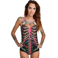 """Skelly Monokini"" - Electric Skeleton by Too Fast Apparel (Black/Pink)"