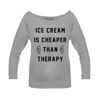Women's Ice Cream Therapy Raglan by Pyknic (Grey)