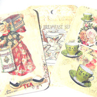 Tea Themed Gift Tags Set of 6 Vintage Inspired Chinese Tea Merchant Tea Cups TeaPot