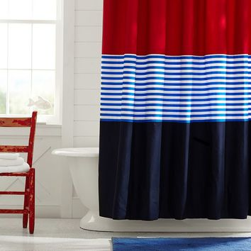Colorblock Shower Curtain Navy Red From PBteen