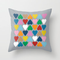Up and Down Hearts on Grey Throw Pillow by Project M