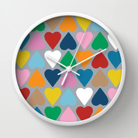 Up and Down Hearts on Grey Wall Clock by Project M
