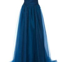 Teal One-Shoulder Draped Organza Gown by Marchesa - Moda Operandi