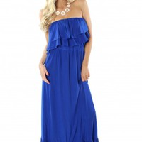 Royal Ruffle Maxi Dress