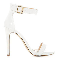 White Ankle Strap Open Toe Heels