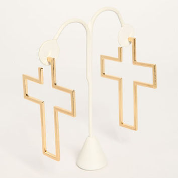 OVERSIZED CROSS EARRINGS