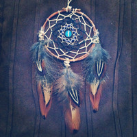 Boho Dream Catcher with Moonstone/Opalite and Pheasant Feathers // Hippie Decor