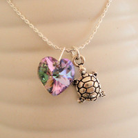 Love Turtle  Swarovski Crystal Necklace Heart by LaPreciozaJewelry