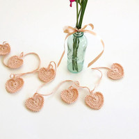 Peach, Crochet Bunting , Crochet Garland , Hearts Banner , Table Decor, Peach, Crochet Home Decor
