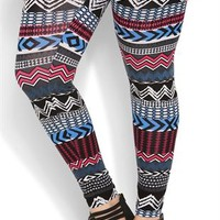 Plus Size Cobalt and Magenta Tribal Print Legging