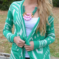 Farmington Jade Frayed Tribal Sweater