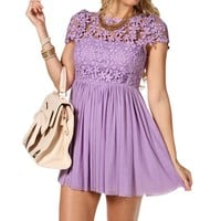 Lavender Crochet Floral Dress